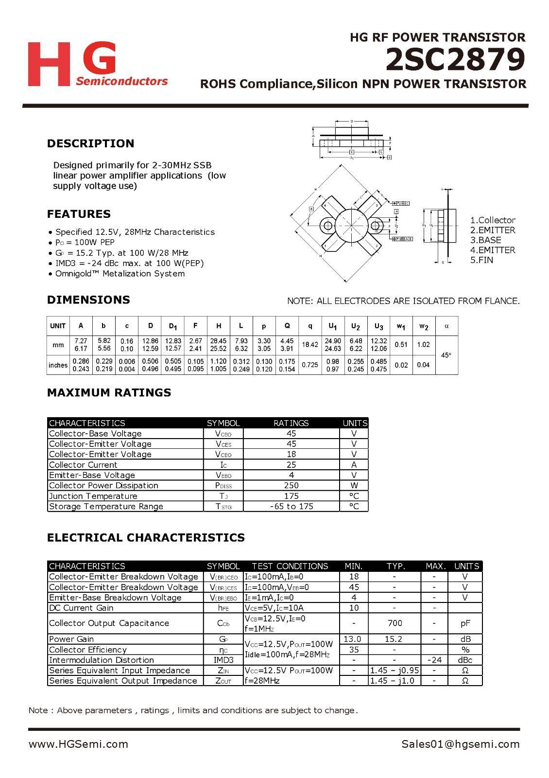 4 PCS 2SC2879 build by China HG semiconductor HG HuaGao