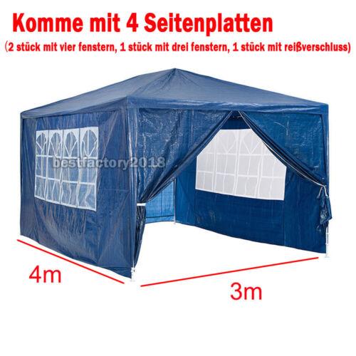 Pavillon Garten Party Camping Fest Eventzelt Bier mit Seitenteile 3x3m 3x4m NEU