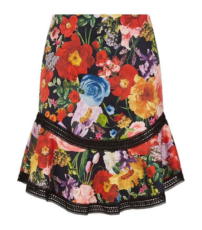 dc3616776062 Alice + Olivia Eriko Floral Print Hem And Flare Skirt Size 2 NWT Fit Curved  nvzqay7129-Skirts