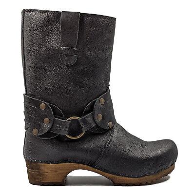 Wooden Sanita /'Mohawk/' Danish Clog Boots in Black Art:452203