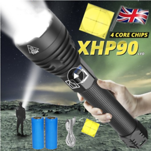 UK Super Bright XHP90 XHP70 Powerful LED Flashlights USB Rechargeable Zoom Torch