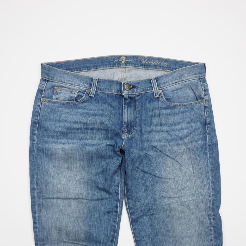 7 FOR ALL MANKIND Drop Straight Leg Jeans Medium Wash Denim Mens 36x27