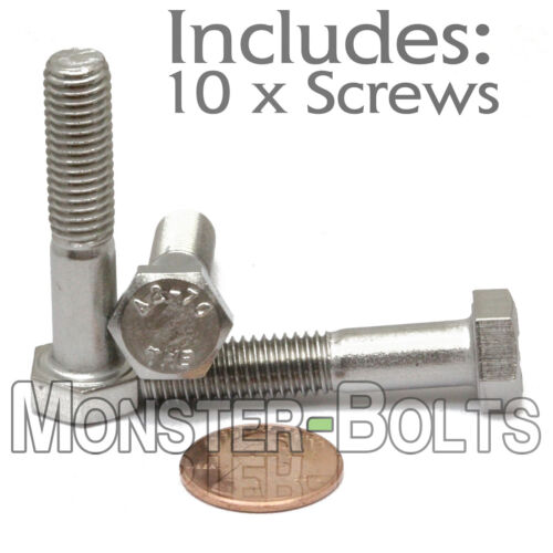 M8-1.25 x 40mm Qty 10 DIN 931 HEX CAP BOLT // Screw Stainless Steel A2-70