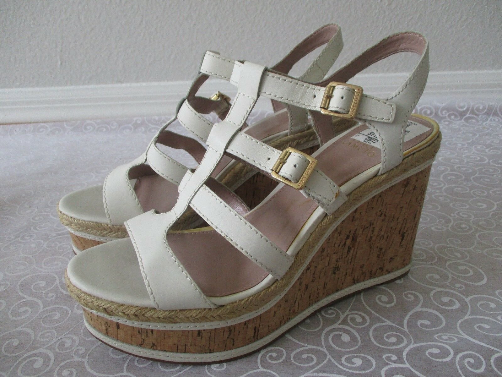 99 VINCE CAMUTO CAMUTO CAMUTO OFF Weiß LEATHER WEDGE STRAPPY schuhe Größe 11 M - NEW 3bb387
