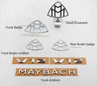 7set Mercedes Benz Modified Maybach Hood Emblem Ornament Fender Rear Badges S600