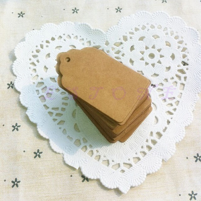 100pcs Blank Brown Kraft Paper Marked Blank Card Hand Draw Tags Labeled Card