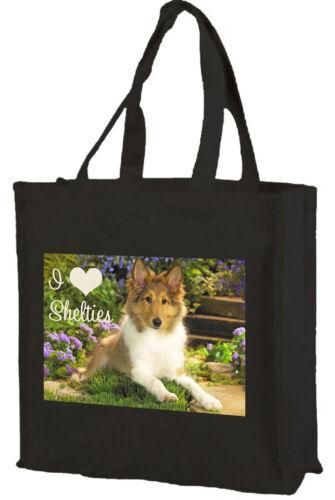 Sheltie Shetland Sheepdog Shopping Bag Choice of Colours: Black Cream