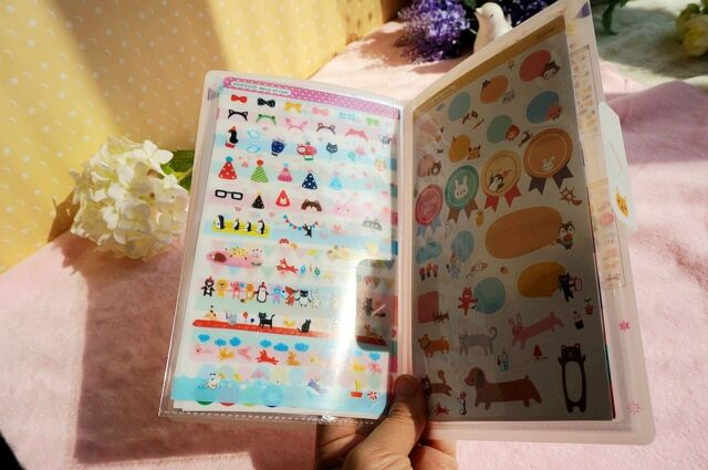 8 sheet lovely zoo animals photo  album diary calendar Filofax schedule  sticker