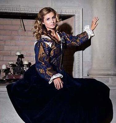 5pc RENAISSANCE DRESS COSTUME Velvet & Chenille FRONT LACE NAVY rgl w/sleeves