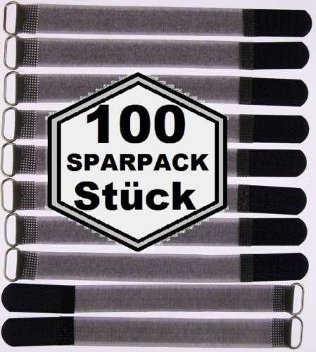100 Klettband Kabelbinder FK 20 cm x 20mm schwarz Klettbänder Kabelklett mit Öse