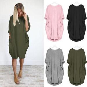 AU-Womens-Loose-Batwing-Sleeve-Oversize-Pocket-Mini-Shirt-Dress-Baggy-Long-Tops
