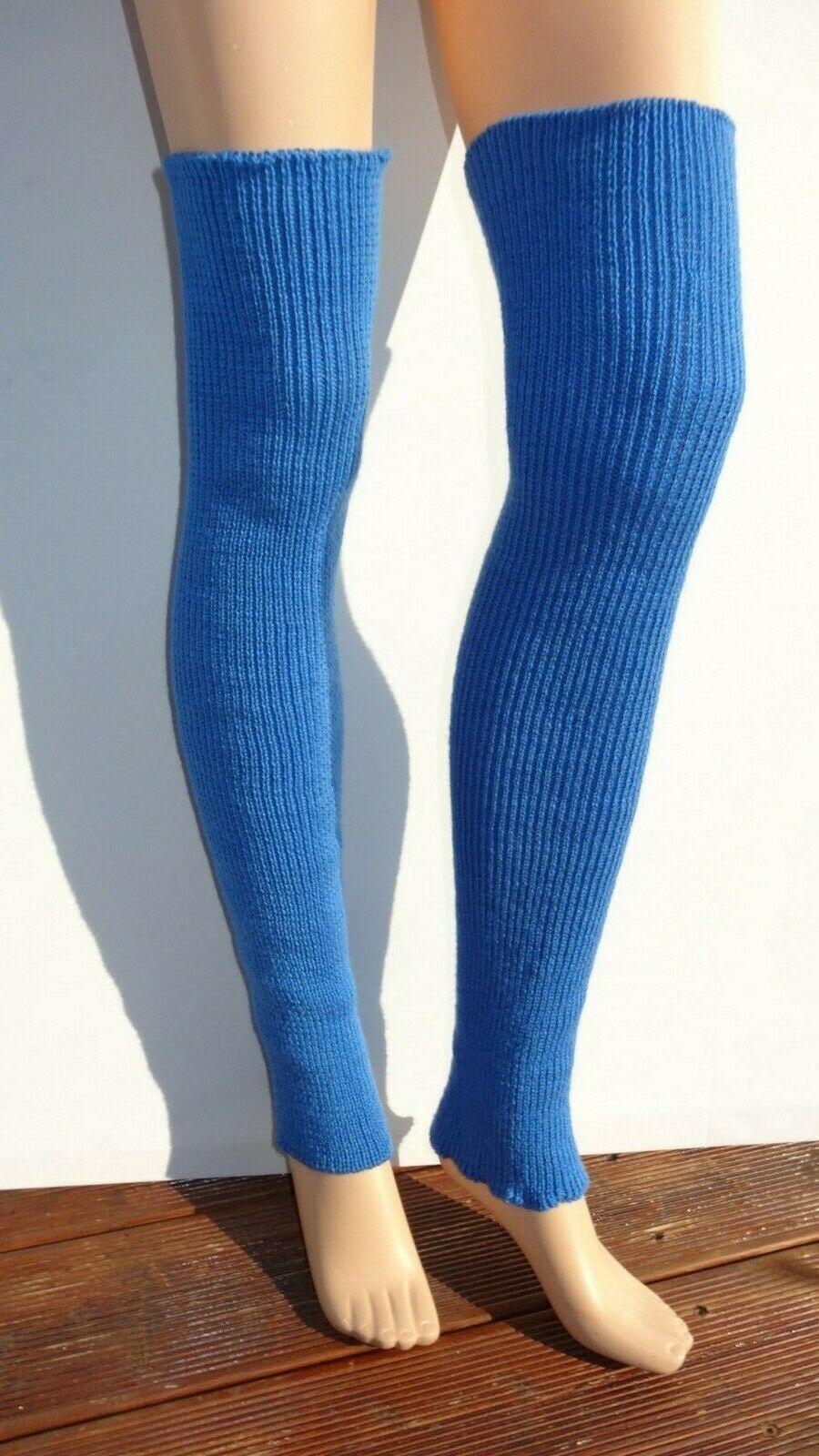Handmade long merino wool blended leg warmers 29 in bluee one size leg warmer
