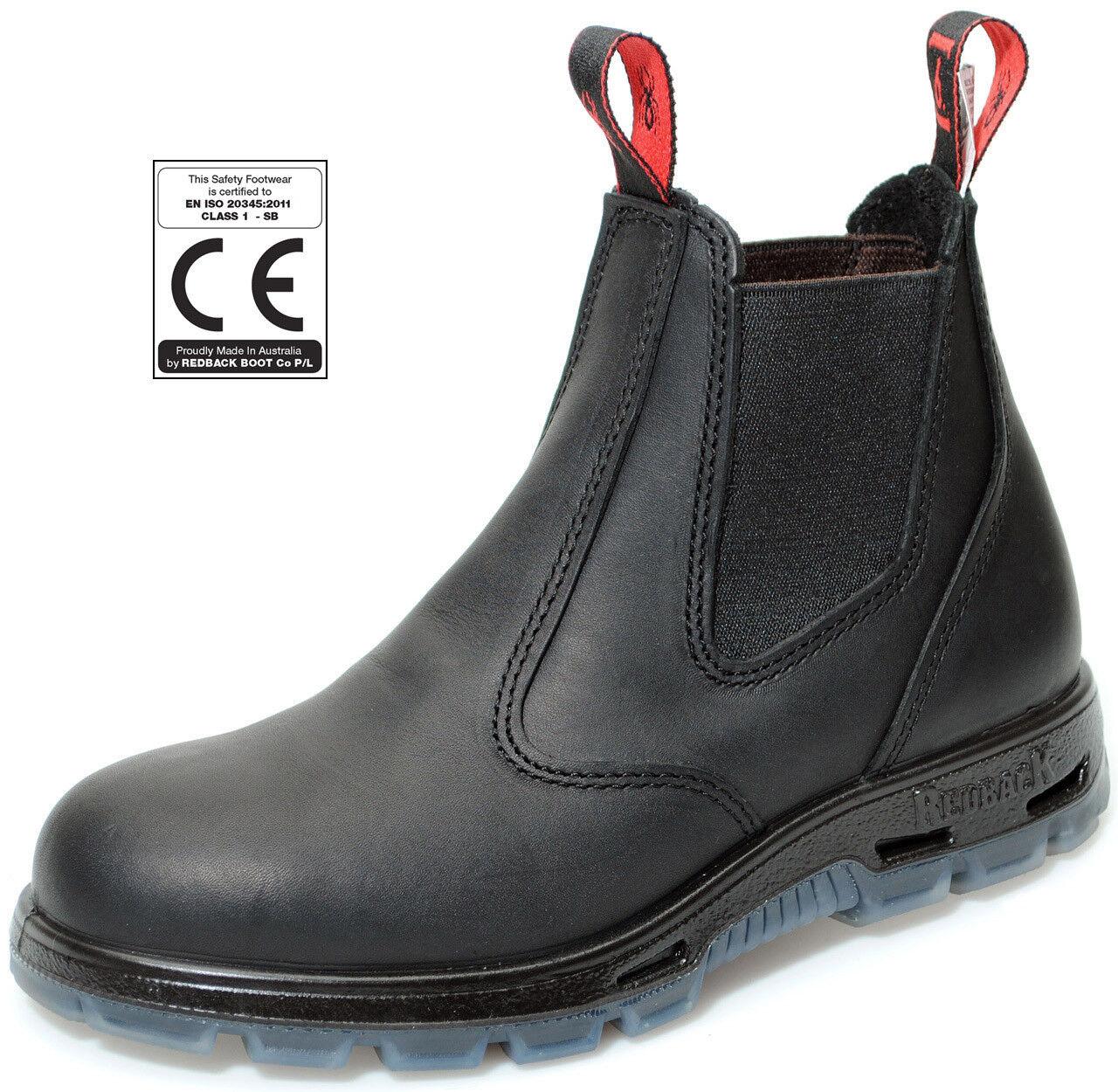 Redback Stahlkappe Boots Arbeit Reiten Leder Stahlkappe Redback USBBK schwarz mit Schmunzelfehler 64db2e