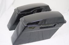 Set Unpainted Raw Black Touring Hard Saddle bags Saddlebags for Harley 1994-2013