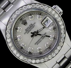 Rolex-Ladies-Datejust-Oyster-Stainless-Diamond-Dial-Bezel-Watch-Pearl-Authentic