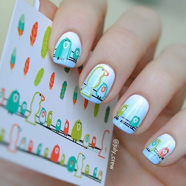 Born Pretty Nail Art Water Decals Transfer Stickers Bird Feather ...