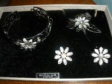 vintage costume jewelry set Rhodium finish bracelette, brooch, earrings clip on