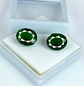 Colombian Emerald Gemstone 17-19 Carat Natural Oval Matching Pair AGI Certified