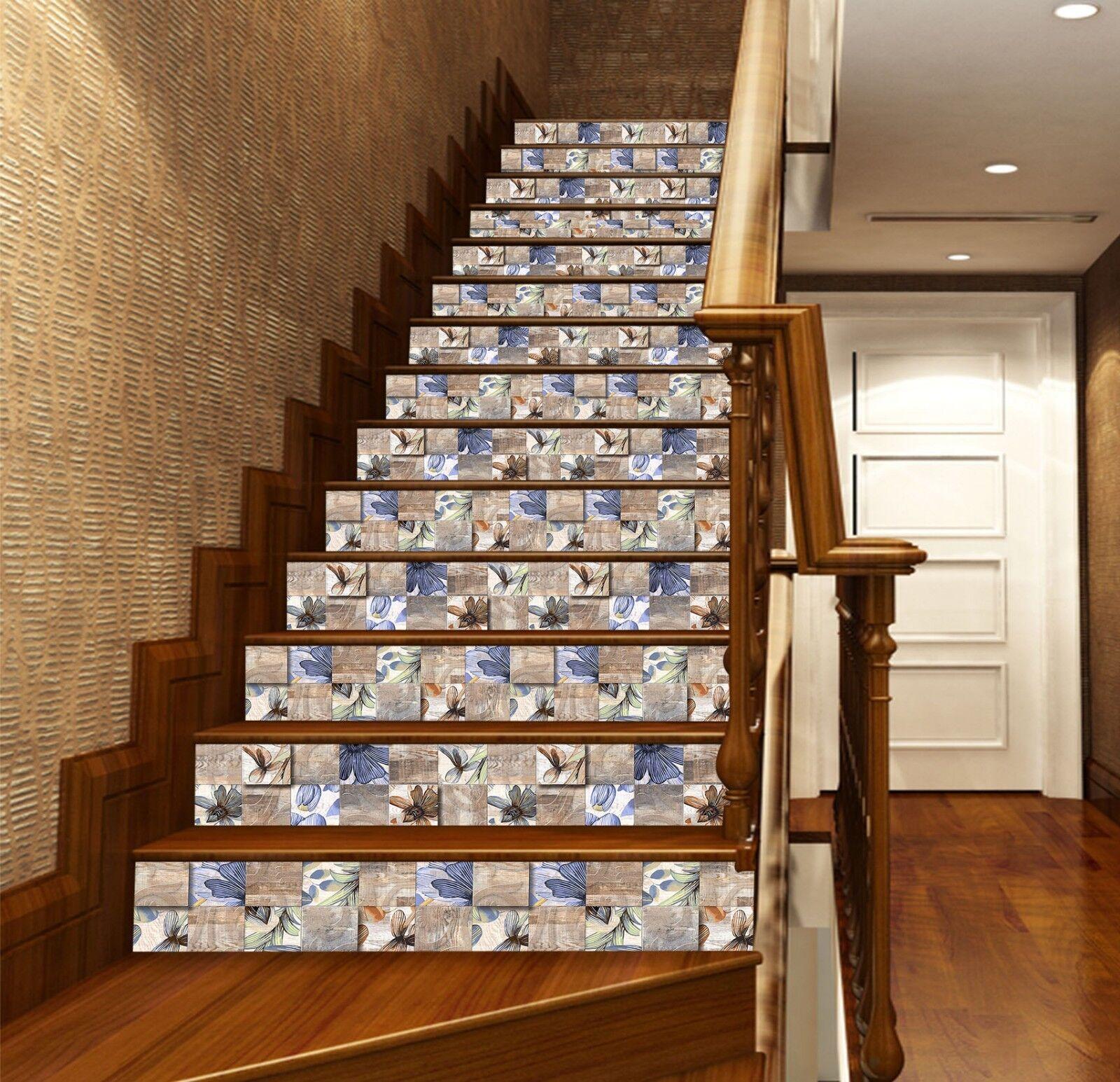 3D Mode Jade Blaumen 2 Fliesen Marmor Stair Risers Vinyl Tapete Fototapete DE