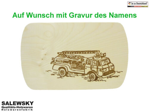 Frühstücksbrett Schneidebrett Feuerwehrauto Frühstücksbrettchen Holz Ahorn