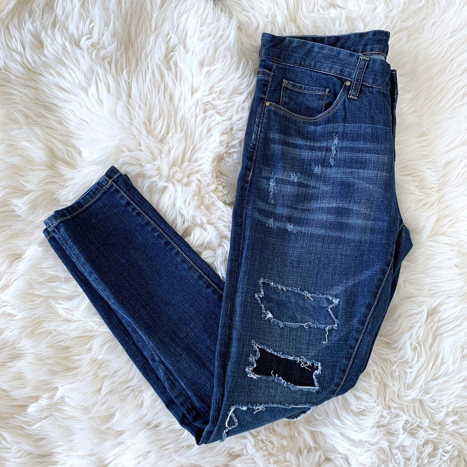 Blank NYC Skinny Jeans Womens Size 26 Dark bluee Patchwork Distressed Destroyed