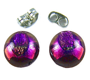 Tiny-DICHROIC-Post-EARRINGS-1-4-034-9mm-Purple-Pink-Round-Layered-Fused-GLASS-STUD