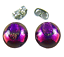 Tiny-DICHROIC-Post-EARRINGS-1-4-034-9mm-Purple-Pink-Round-Layered-Fused-GLASS-STUD thumbnail 1