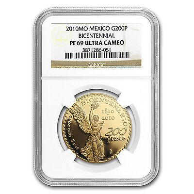 2010 Gold 200 Pesos Mexican Bicentenary Coin - PF-69 UCAM NGC - SKU #83556