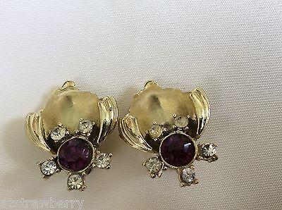 Vintage GT Coro signed Purple & clear  crystal Rhinestone clip on earrings