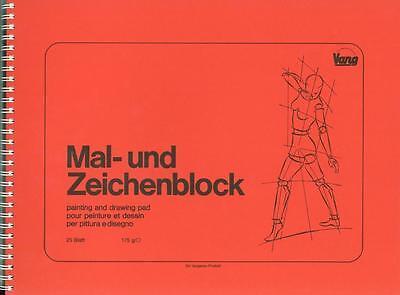 Malblock Zeichenblock Spiralbindung Querformat 175g//m² Naturweiß versch Formate
