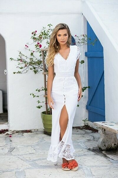 Espiral Weiß Maxi Sun Beach Dress w  Crochet Detail & Front Slit 4621