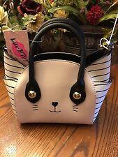 NWT Betsey Johnson Pink White Cat Satchel Crossbody Bag Katt Kitty Cat