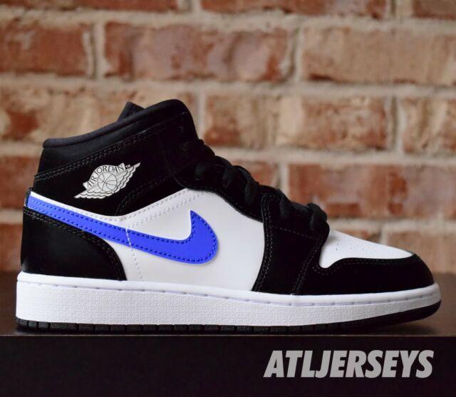 Nike Air Jordan 1 Mid GS Black Racer Blue White 554725-084