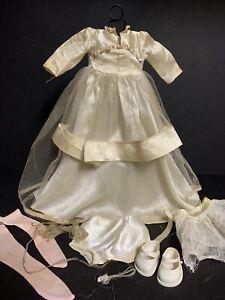 Vtg-1960-s-Doll-Wedding-Bride-Dress-amp-Accessories-Fairyland-Toy-Prod-USA-15-034