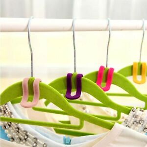 Home Flocked Hanger Connectors Hooks Space Saving Clothes Coat Garment Hooks