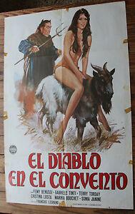 Blechschild-aus-Kino-El-Diablo-in-auf-Im-das-Kloster-Vintage-Comedy-Erotic