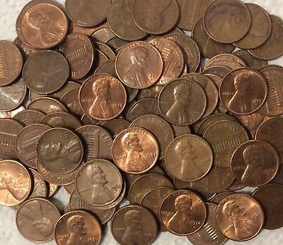 Roll 1975 CIRCULATED unsearched pennies $.50 roll nice!