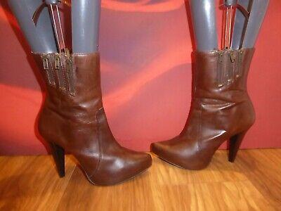 *b5* Carvela Brown Leather Biker Style Ankle Platform Heel Boots Uk 7 Eu 40