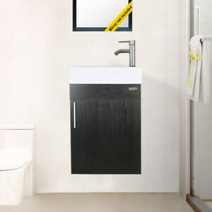 19 Wall Mount Small Bathroom Vanity W White Ceramic Sink Faucet