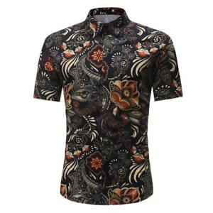 Casual-t-shirt-tops-stylish-dress-shirt-formal-short-sleeve-floral-slim-fit