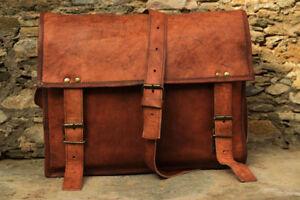 Natural-Leather-Messenger-Handmade-Bag-Shoulder-Business-Briefcase-Laptop-Bags