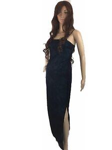 Ecru-Studio-Womens-Gown-Spaghetti-Formal-Glittered-Shiny-Embelished-Slit-Small