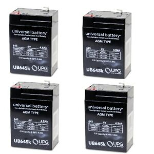 NEW 4 PACK UB645 6V 4.5AH SLA Replacement Battery for Prescolite EMEXITS EMEXEDM