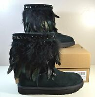 Ugg Australia Uggs Black Classic Short Peacock Feather Boots Sz 6 10 1015562