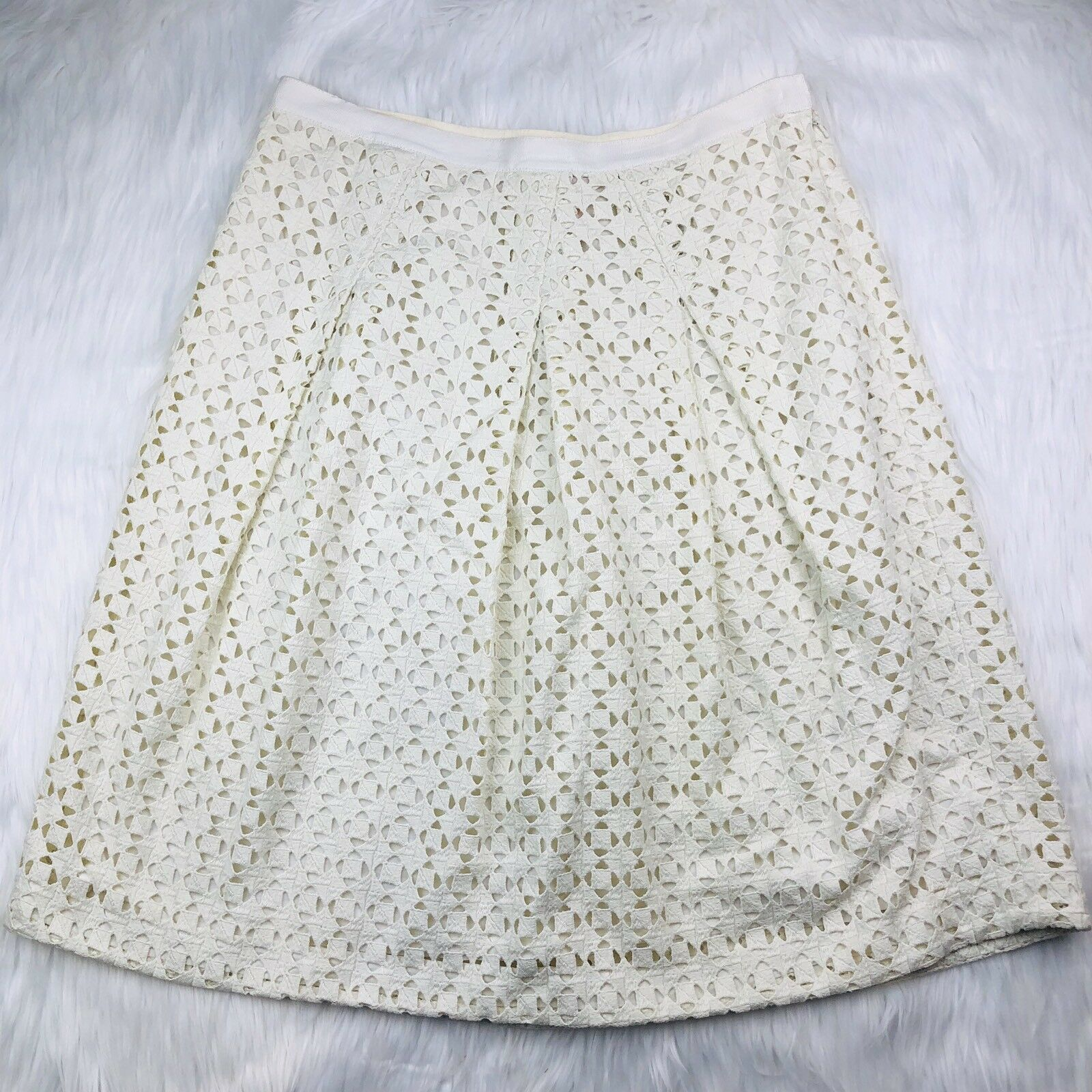 Tory Burch Größe 10 Skirt Haylie Crochet Lace Eyelet Pleated Ivory Knee Length