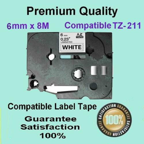 5 X compatible labelling tape for Brother TZ211 6MM Black on White PT-1830 1880