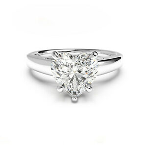 2.00 Ct Heart Real Moissanite Engagement Ring 14K Bridal Solid White Gold Size 9