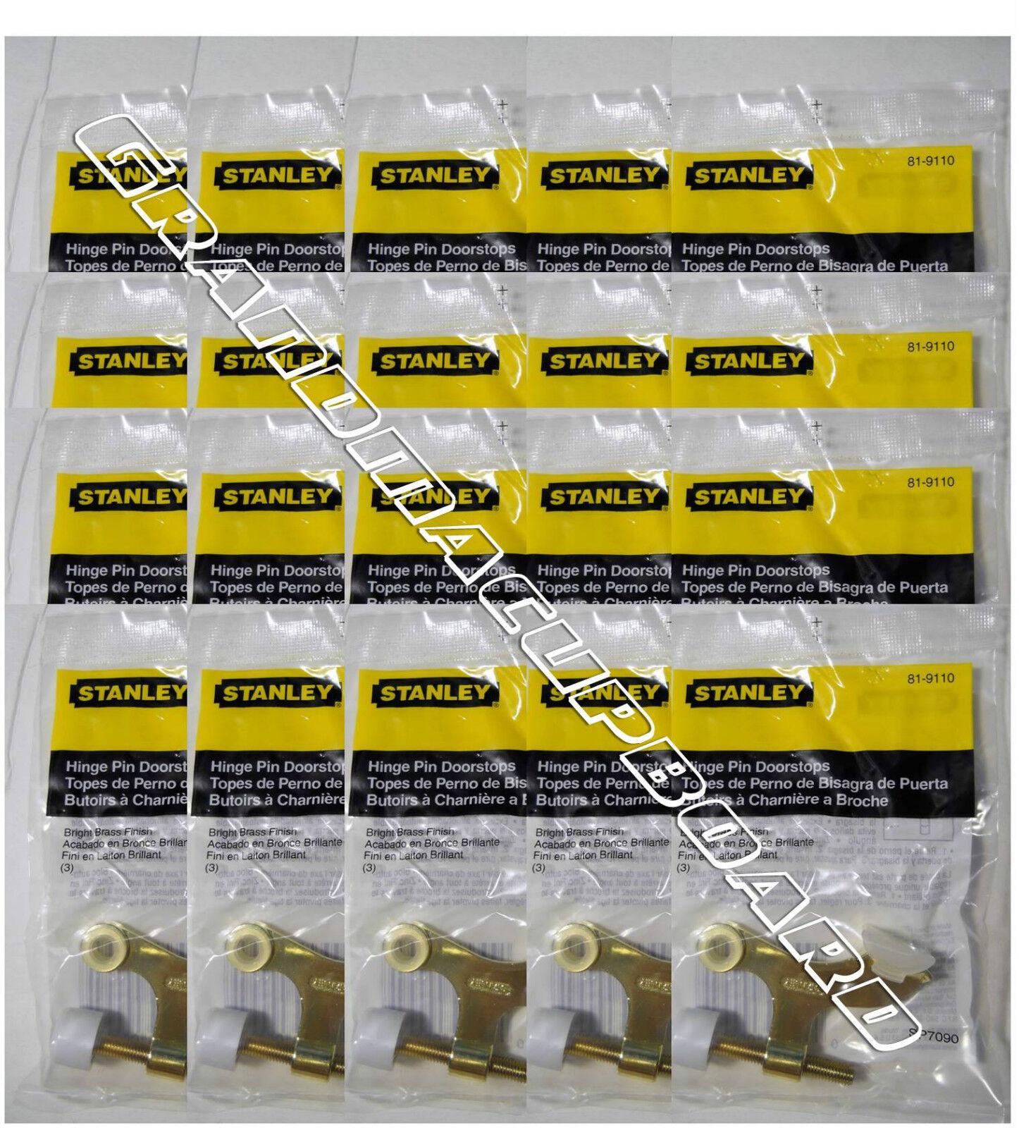 STANLEY HARDWARE Lot 5 Adjustable Brass Finish Hinge Pin Doorstop Model 81-9110