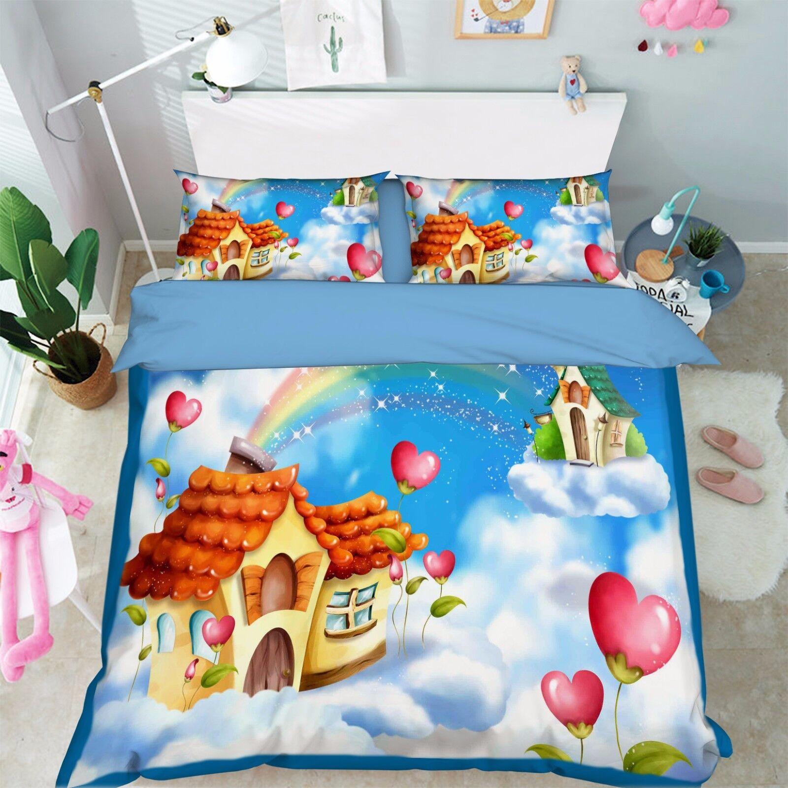 3D Rainbow Cloud 07 Bed Pillowcases Quilt Duvet Cover Set Single Queen King CA