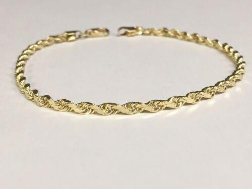 "025RR 10k Solid Yellow Gold Diamond Cut Rope Chain Bracelet 7/"" 3.5 mm 5 grams"